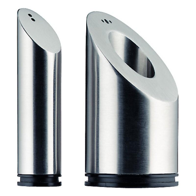 Онлайн каталог PROMENU: Набор: солонка/перечница WMF BASIC, высота 8,6 см, диаметр 4,5 см, серебристый, 2 предмета WMF 06 6105 6030