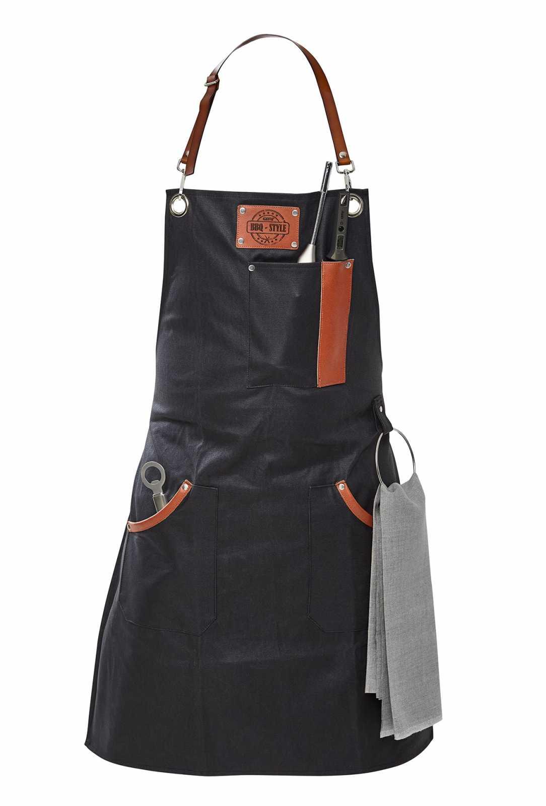 Онлайн каталог PROMENU: Фартук для барбекю с петлей для полотенца и держателем для термометра Gefu, черный                                                  GEFU 89421