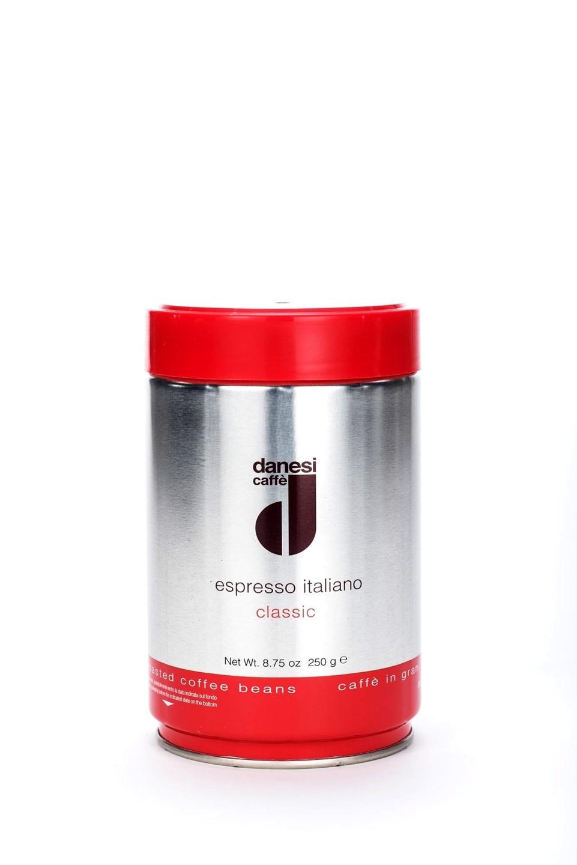 Онлайн каталог PROMENU: Кофе Classic в зернах Danesi, 0,25 кг, жестяная банка, красный                                                  Danesi 1010035_New