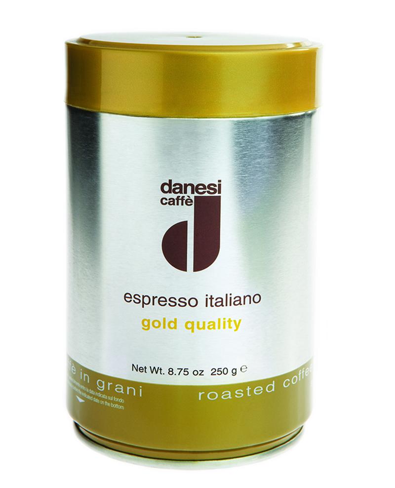 Онлайн каталог PROMENU: Кофе Gold в зернах Danesi, 0,25 кг, жестяная банка, желтый Danesi 1010310_New