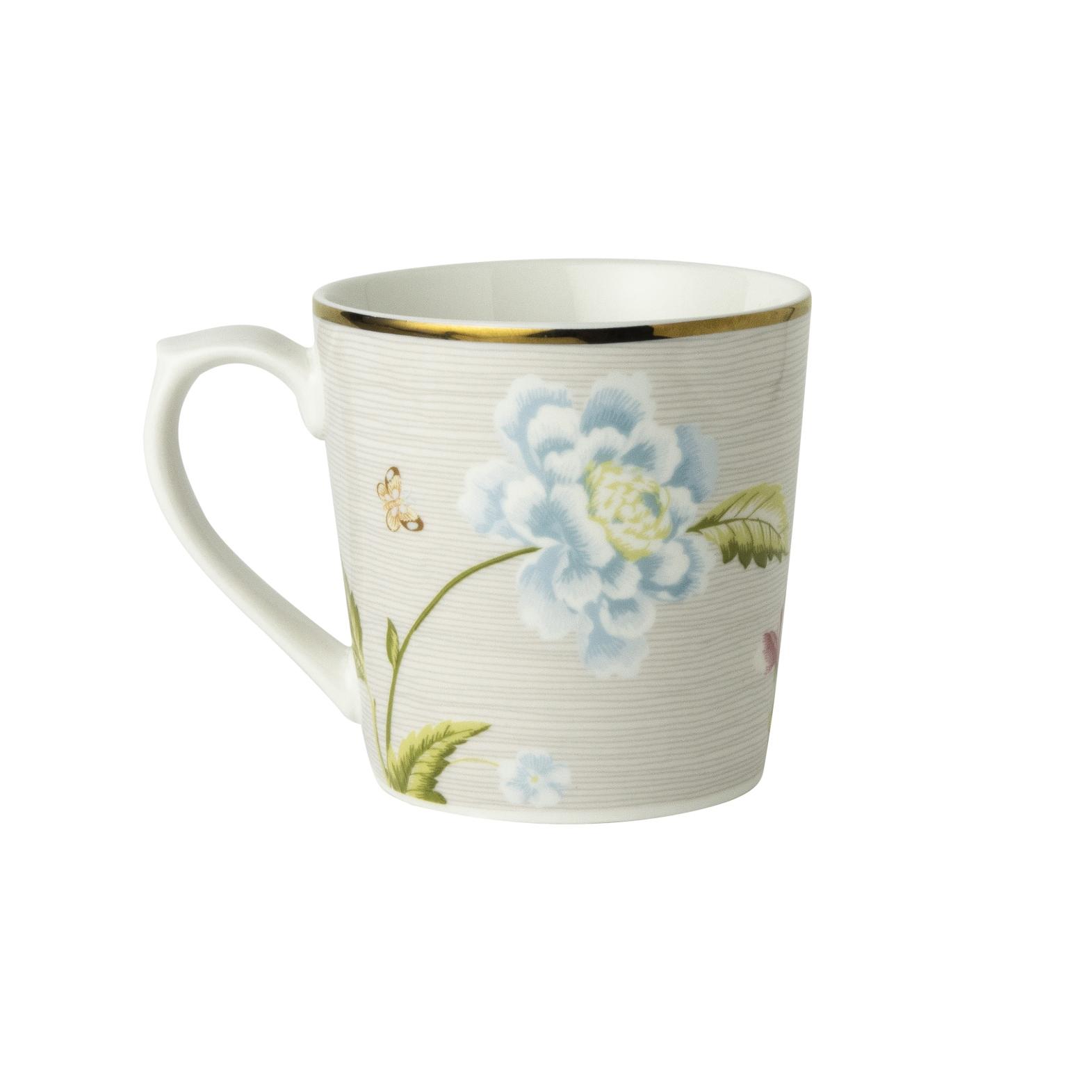 "Онлайн каталог PROMENU: Кружка ""Цветы"" Laura Ashley HERITAGE, объем 0,35 л, серый с цветами                                   180512"