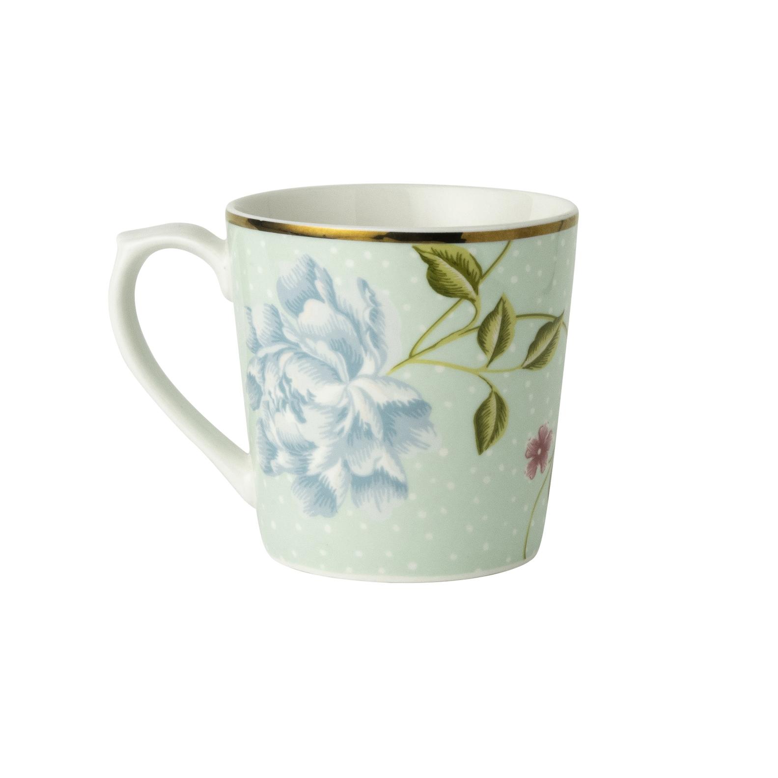 "Онлайн каталог PROMENU: Кружка ""Цветы"" Laura Ashley HERITAGE, объем 0,35 л, мятный с цветами                                   180422"