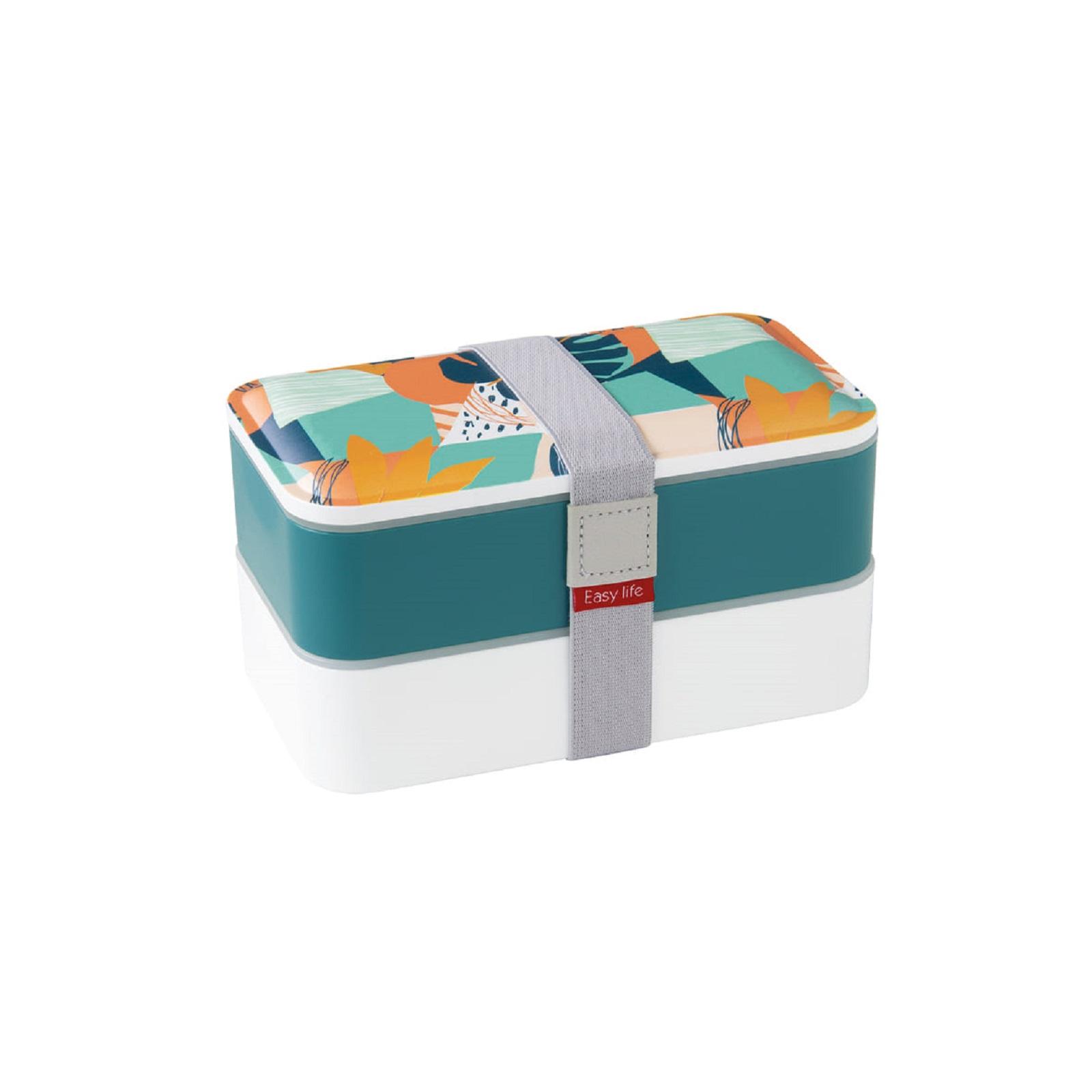 Онлайн каталог PROMENU: Ланч-бокс Easy Life, объем 18,5 x 10,5 x 10  см, белый с синим  2500 ABS2