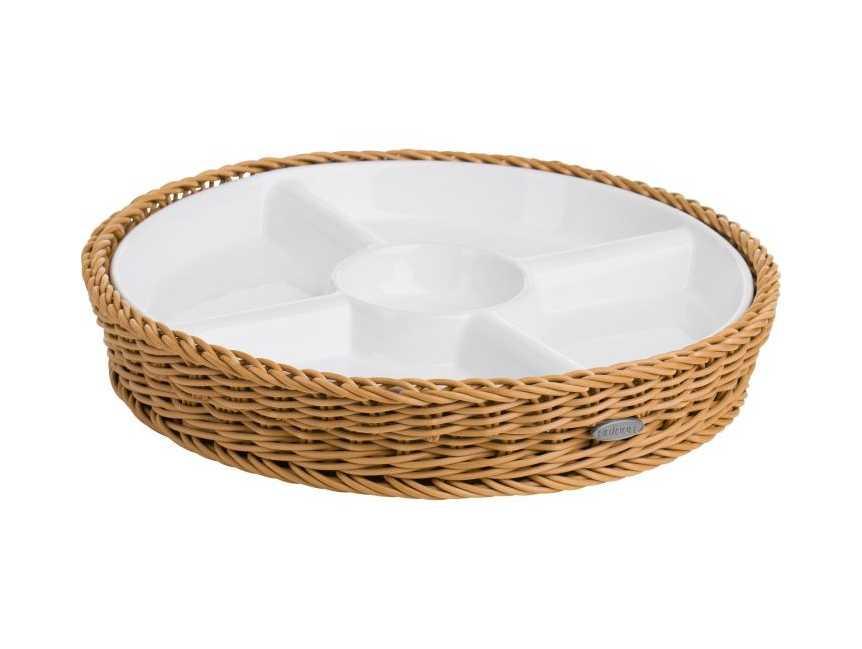 Онлайн каталог PROMENU: Менажница на 5 отделений Saleen WHITE, Ø 28,5 см, высота 4,5 см белый c коричневым  02102004160
