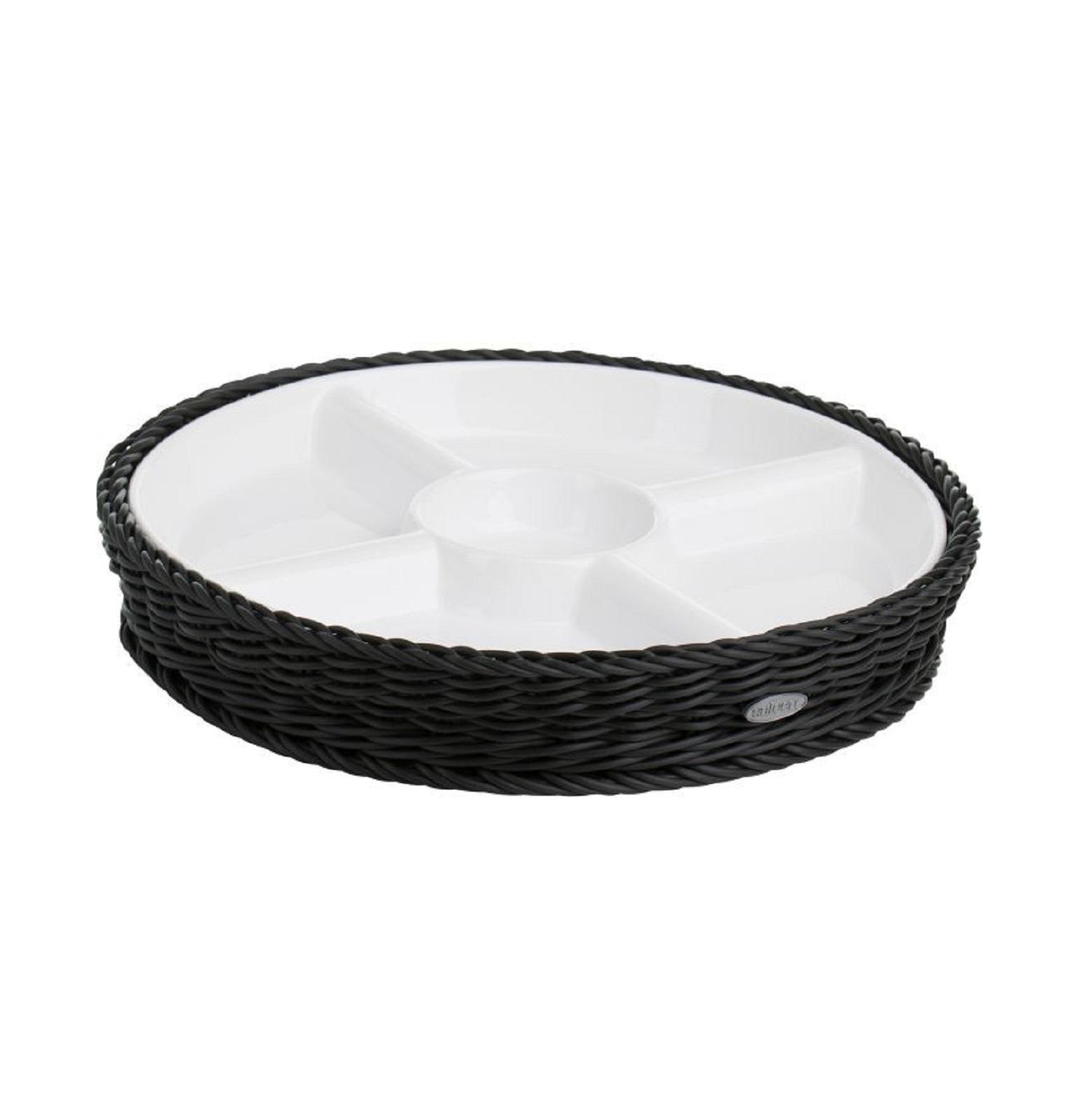 Онлайн каталог PROMENU: Менажница на 5 отделений Saleen WHITE, Ø 28,5 см, высота 4,5 см белый c черным  02102019160