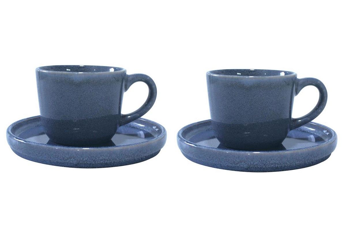 Онлайн каталог PROMENU: Набор из 2 чашек с блюдцами Aida SOHOLM SONJA, объем 0,2 л, диаметр 15 см, керамика, синий, 4 предмета                                   16280