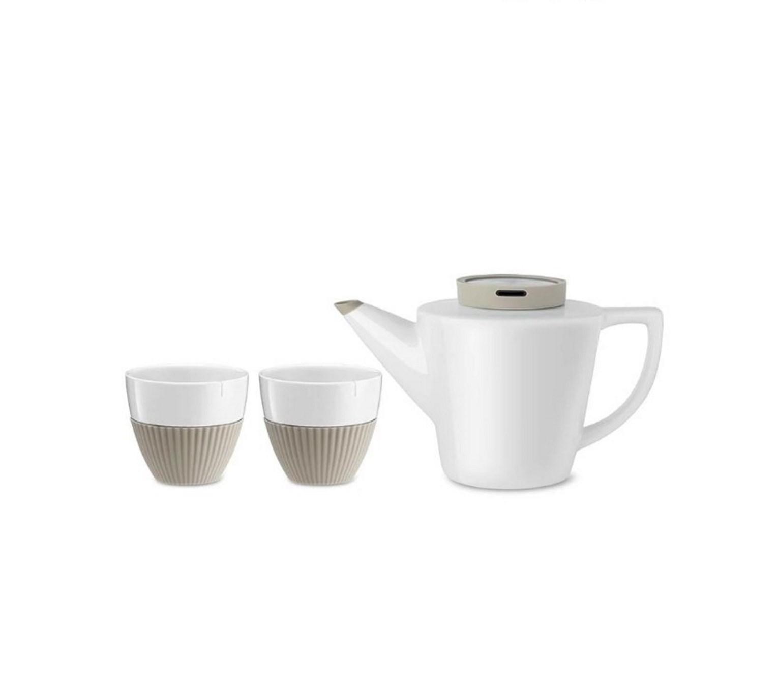 Набор для чая (чайник 22,8х13,3х13,4 см и 2 чашки 8,5х9,4 см) Viva Scandinavia INFUSION, бежевый, 3 предмета купить украина
