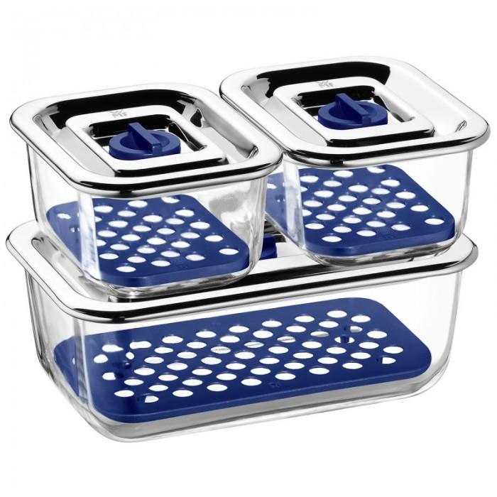 Онлайн каталог PROMENU: Набор емкостей с крышками для продуктов WMF, прозрачный с синим, 3 предмета WMF 06 5424 9999PROMO